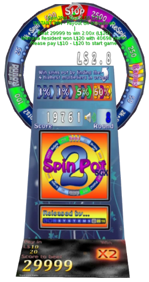 A Spin2Pot game machine